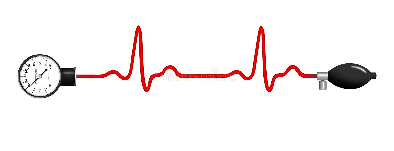 Sphygmomanometer de grafiek met van ECG (elektrocardiogram) royalty-vrije illustratie