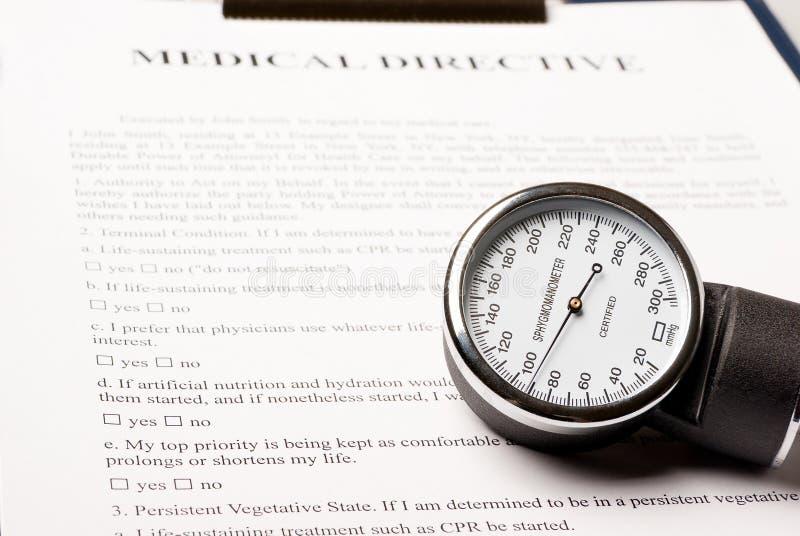 Sphygmomanometer On Medical Directive Document Stock Images