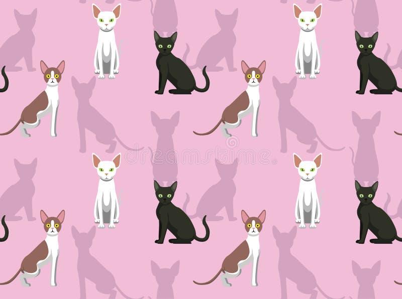 Sphynx康沃尔雷克斯德文郡雷克斯猫动画片无缝的背景墙纸 库存例证