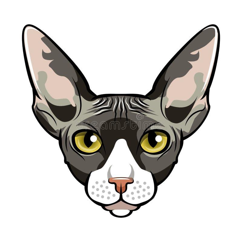 Sphynx, шарж стороны кота вектор иллюстрация вектора