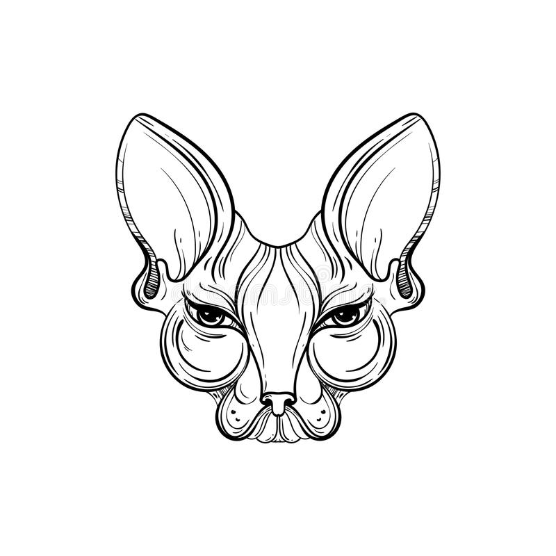 Sphynx Cat Face Vector Illustration. Tattoo Template In Monochrome ...