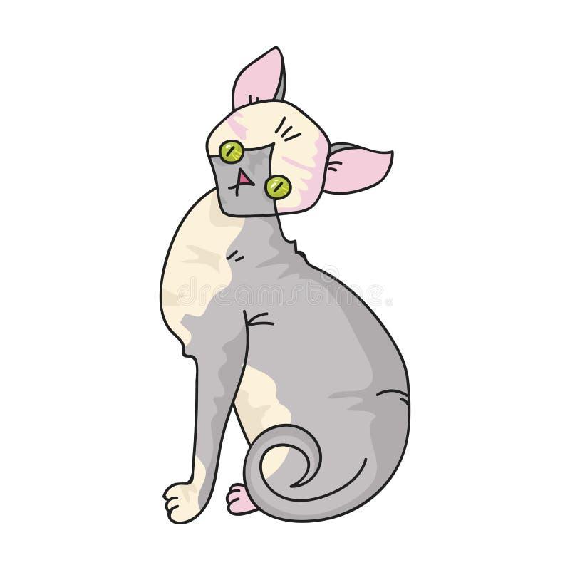 Sphynx ikona w kreskówka stylu odizolowywającym na białym tle Kotów trakenów symbolu zapasu wektoru ilustracja ilustracja wektor