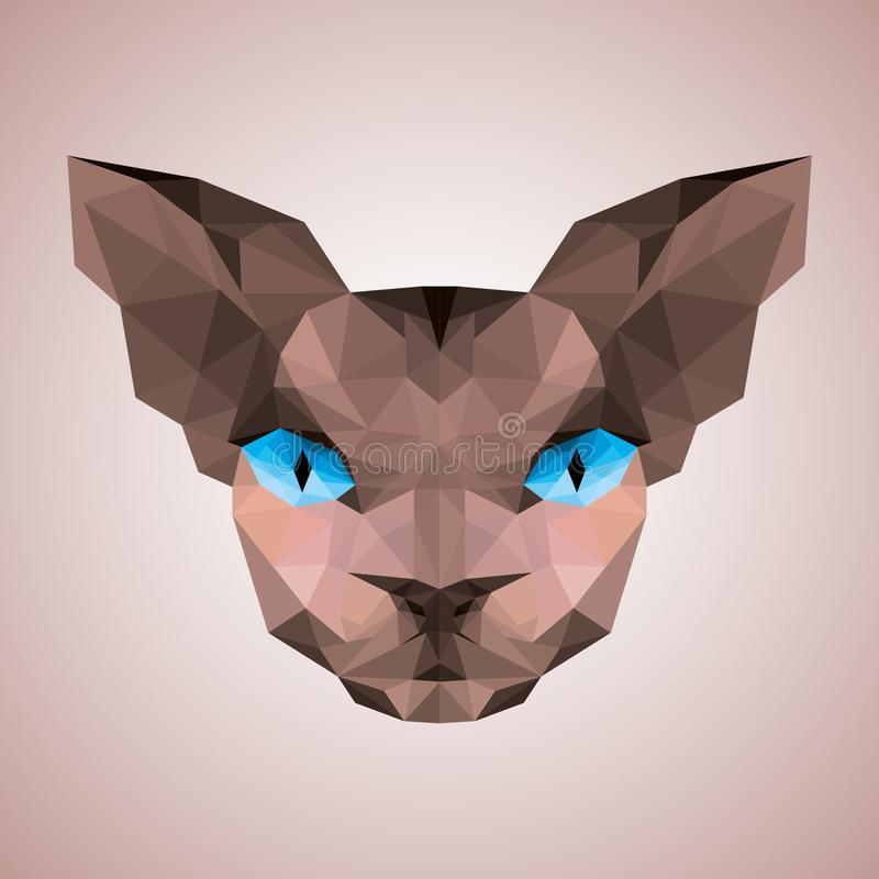 Sphynx kota twarzy depresja poli- ilustracji