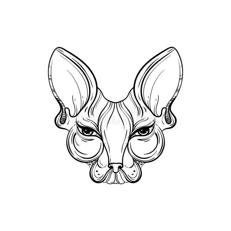 Sphynx kota twarzy wektoru ilustracja Tatuażu szablon w monochromatycznym grafika stylu Rocznik maskotki projekt ilustracji