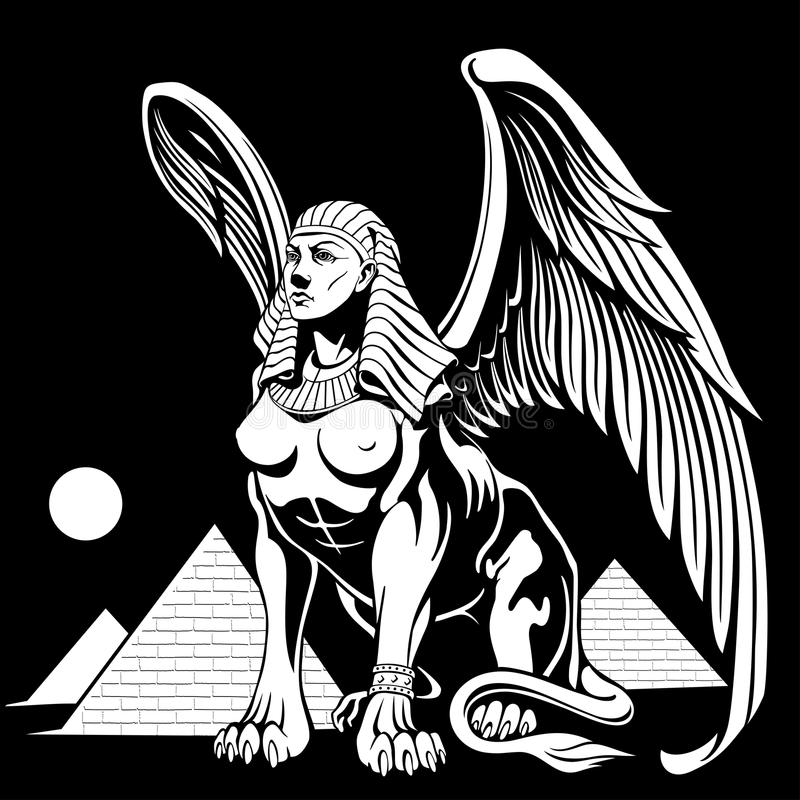 Sphynx vicino alle piramidi con le ali vector l'illustrazione illustrazione di stock