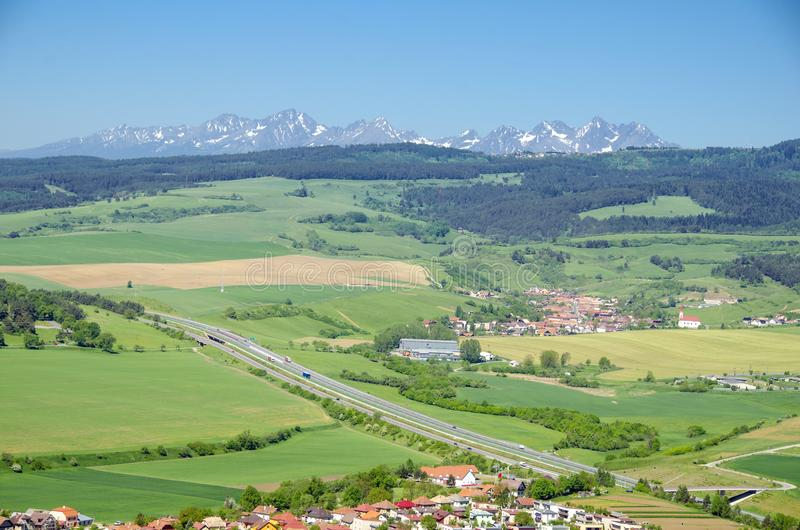 Spišské Podhradie. Is a town in Spiš in the Prešov Region of Slovakia, situated at the foot of the hill of Spiš Castle stock image