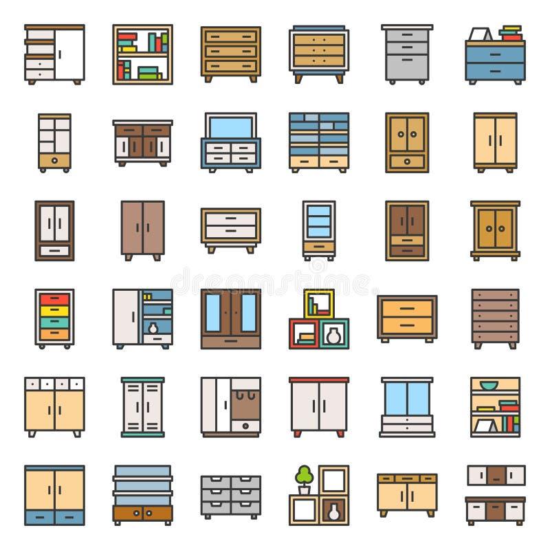 Spiżarni i gabineta wewnętrzny meble, wypełniający kontur ikony set royalty ilustracja