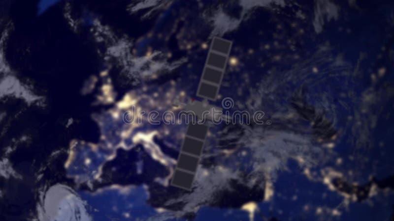 Spia di survailence del satellite di telecomunicazione sopra Europa