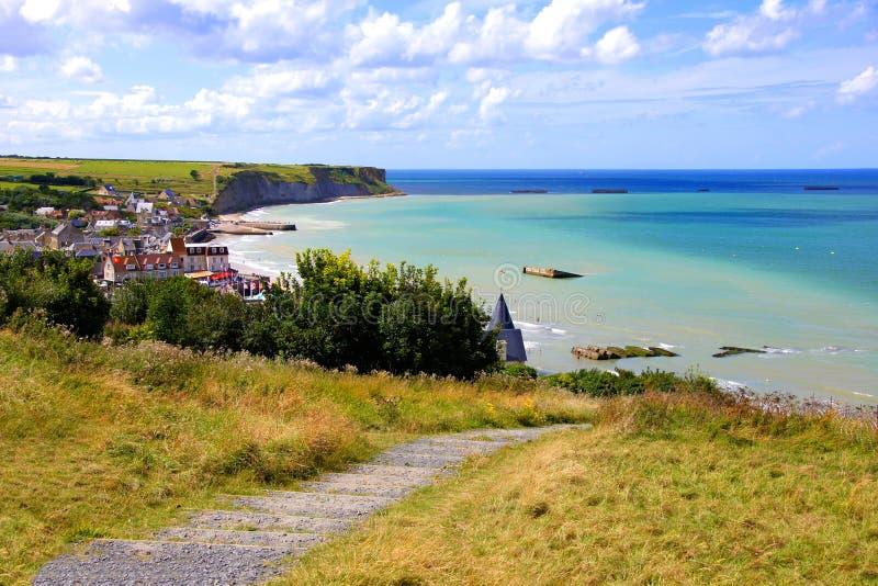 Spiagge di d-day alla Normandia, Francia immagini stock