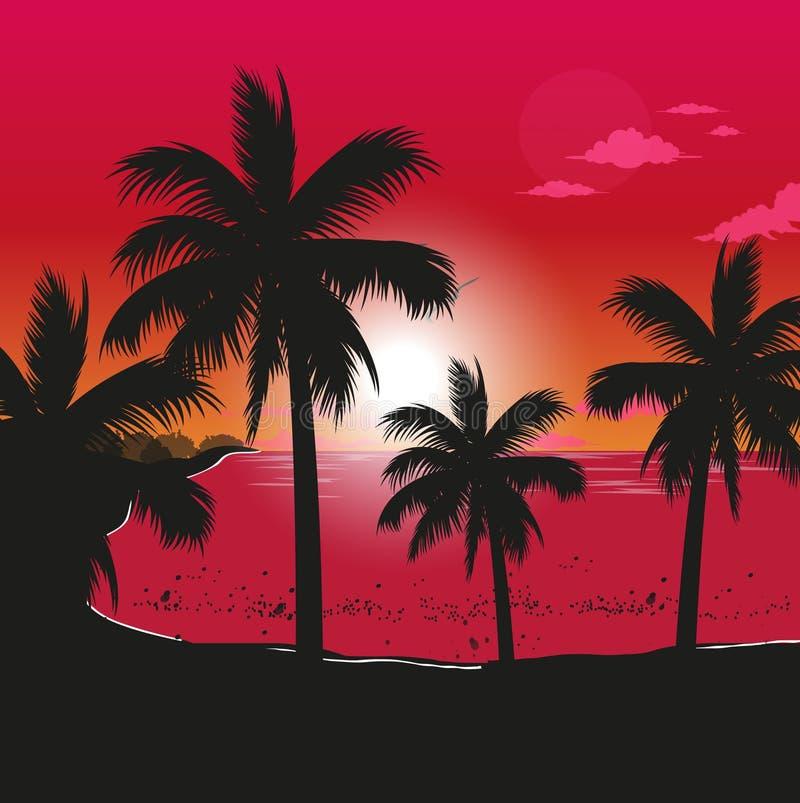 Spiaggia al tramonto illustrazione vettoriale