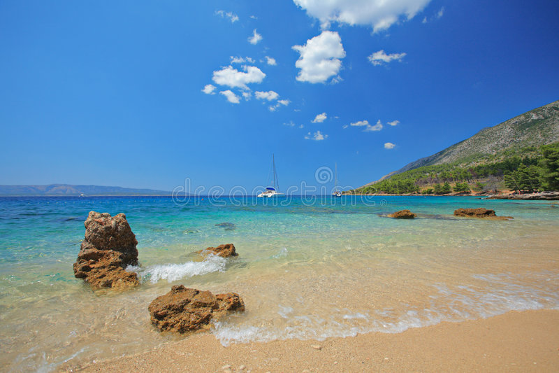 Spiaggia all'isola di Brac, Croatia fotografie stock libere da diritti