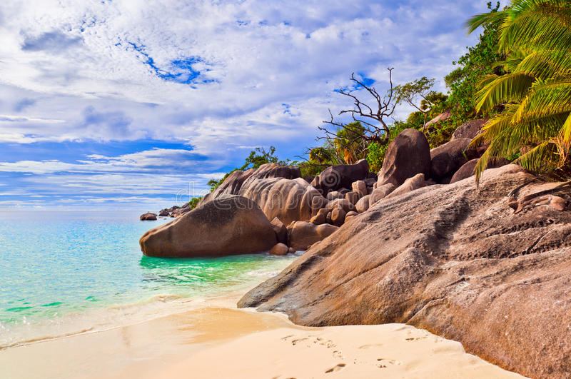 Spiaggia Anse Lazio alle Seychelles immagini stock libere da diritti