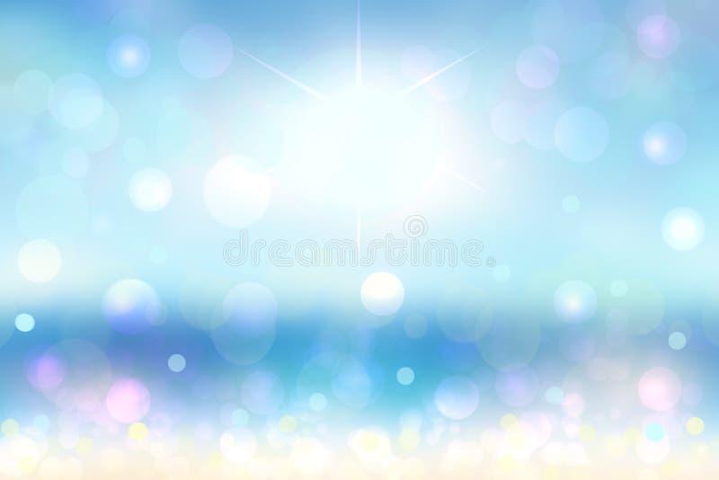 Spiaggia astratta Spiaggia di sabbia tropicale luminosa dell'estratto con sole ed onde su un oceano Contesto per le vacanze estiv illustrazione di stock