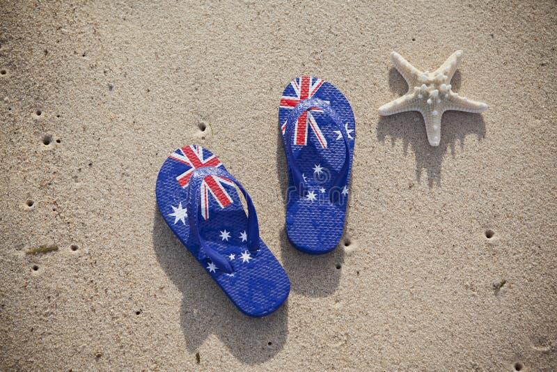 Spiaggia australiana delle cinghie della bandiera immagini stock libere da diritti