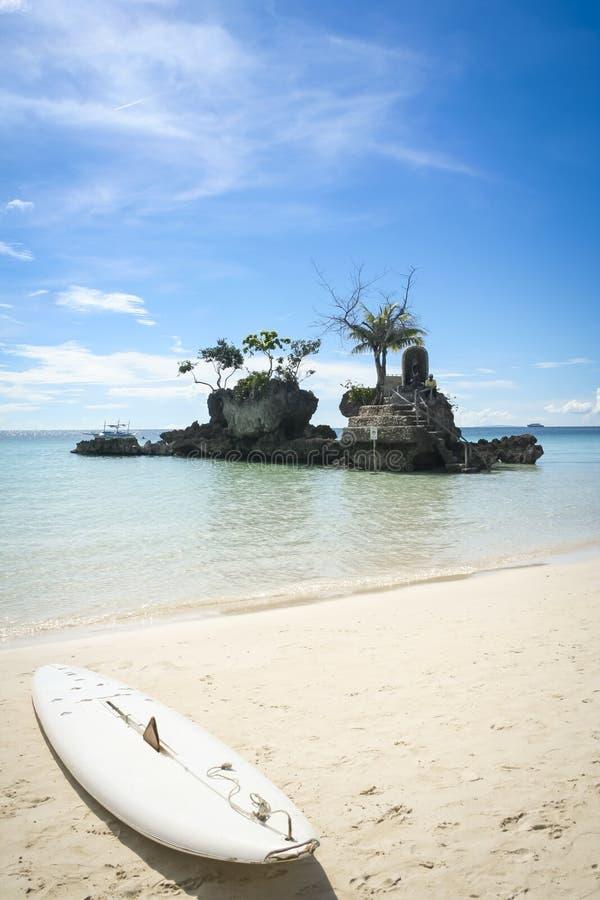 Spiaggia bianca Filippine di boracay della scheda di pala fotografia stock