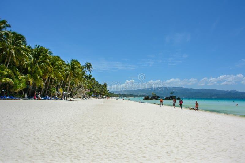 Spiaggia bianca sull'isola di Boracay, Filippine immagini stock libere da diritti
