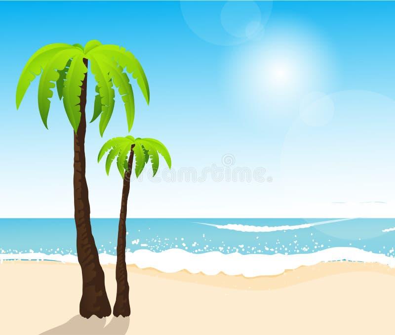 Spiaggia bianca tropicale perfetta della sabbia con le palme illustrazione vettoriale