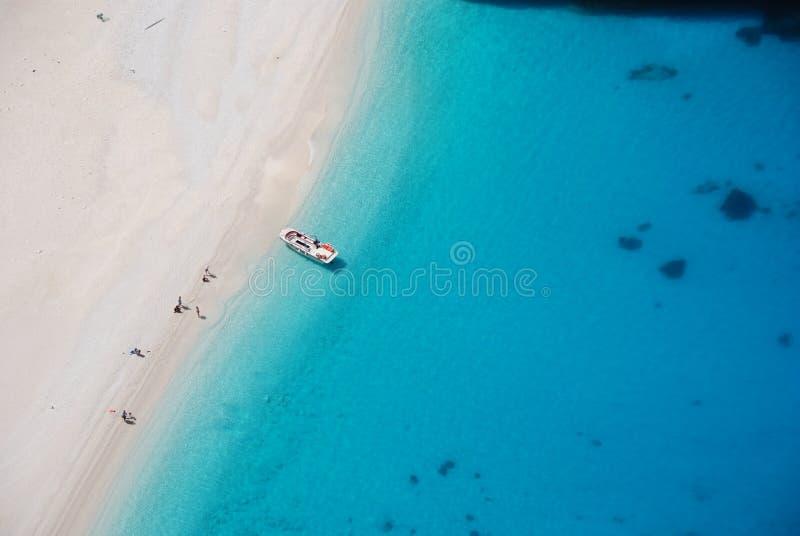 Spiaggia blu Grecia del mare dell'isola della Zacinto fotografie stock libere da diritti
