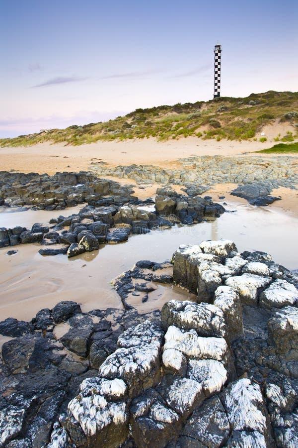 Spiaggia Bunbury del faro fotografie stock libere da diritti