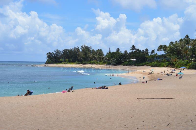 Spiaggia che dà le lezioni dell'inizio a praticare il surfing immagine stock