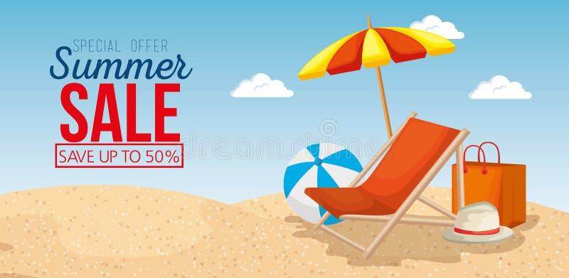 Spiaggia con le icone di vendita di estate royalty illustrazione gratis