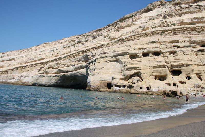 Spiaggia Creta Grece di Matala del mare immagine stock