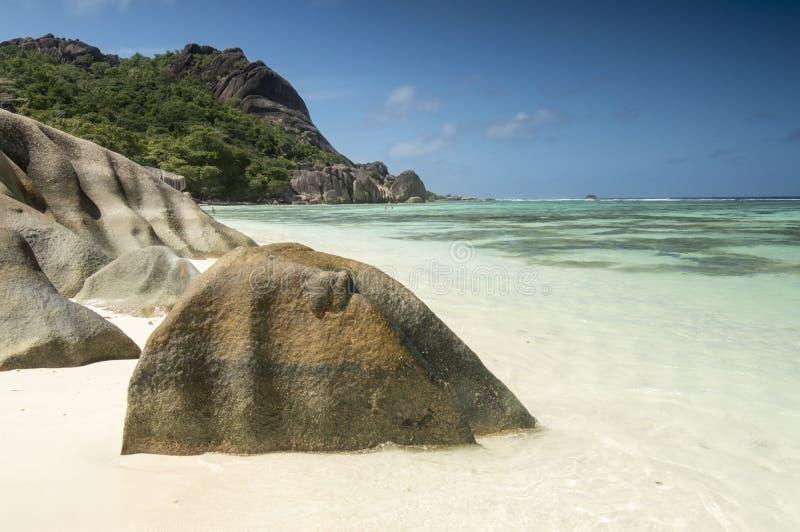 Spiaggia d'Argent di fonte di Anse, isola di Digue della La, Seychelles fotografia stock