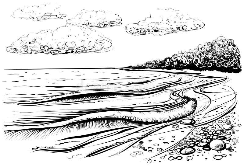 Spiaggia del mare con le onde e le nuvole tempestose Illustrazione in bianco e nero di vettore illustrazione vettoriale