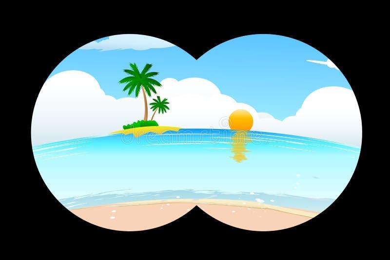 Spiaggia del mare nella vista binoculare illustrazione vettoriale