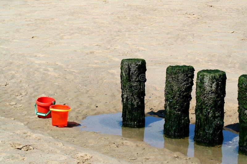 Spiaggia del Mare del Nord e durata della spiaggia di Westkapelle fotografia stock