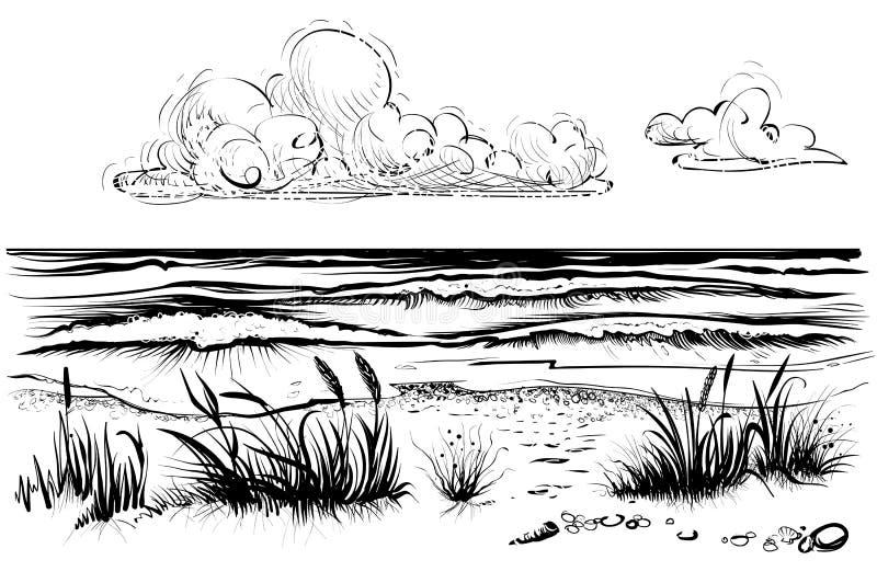 Spiaggia del mare o dell'oceano con le onde, l'erba e la nuvola tempestose, schizzo illustrazione vettoriale