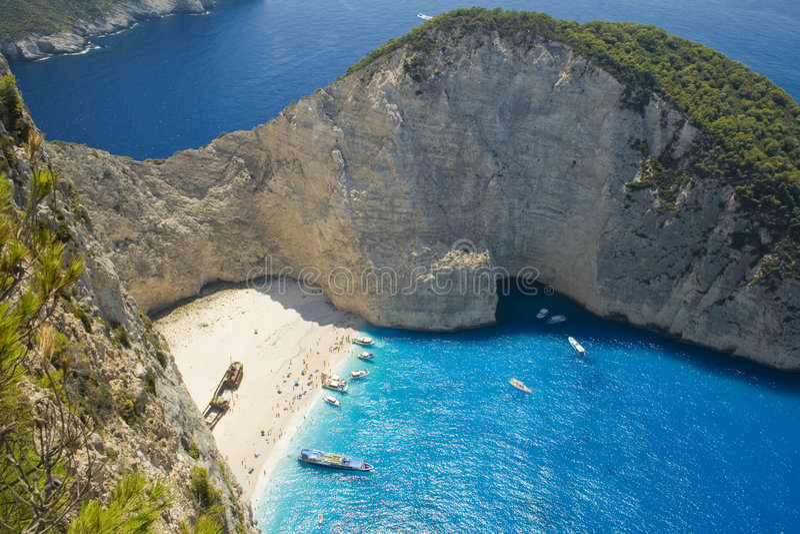 Spiaggia del naufragio (Navagio) immagine stock libera da diritti