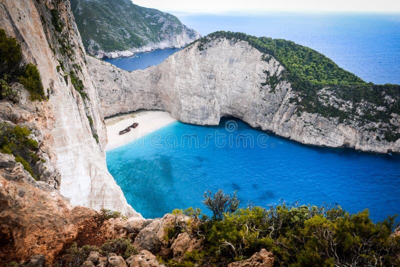 Spiaggia del naufragio sull'isola di Zacinto fotografia stock