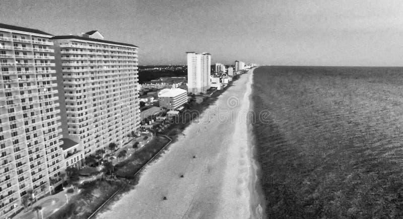 Spiaggia del Panama, Florida Vista aerea alla notte fotografia stock