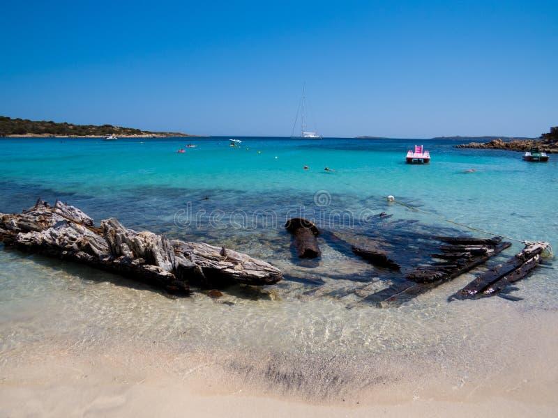 Spiaggia Del Relitto, wyspa Caprera fotografia royalty free