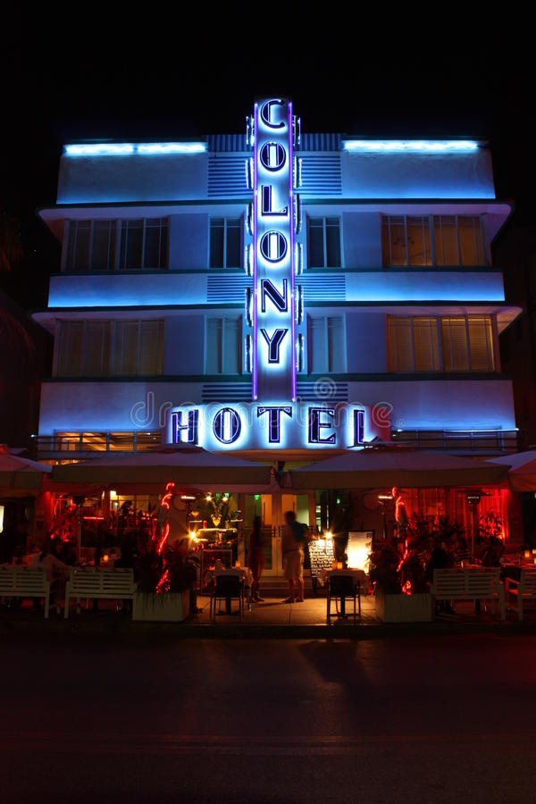 Spiaggia del sud Miami dell'hotel della colonia fotografia stock