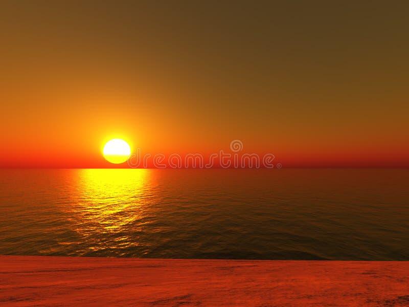 Spiaggia del tramonto illustrazione vettoriale