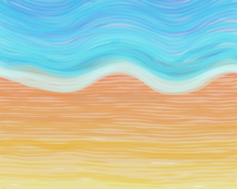 Spiaggia del Watercolour royalty illustrazione gratis