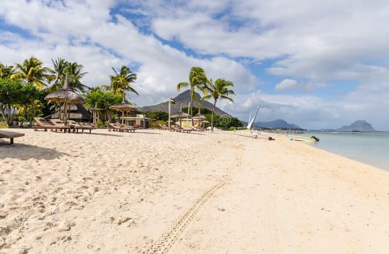 Spiaggia dell'en Flac di Flic in Mauritius immagine stock libera da diritti