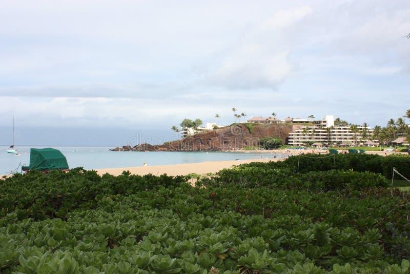 Spiaggia dell'Hawai Maui Ka'anapali e roccia nera fotografie stock libere da diritti