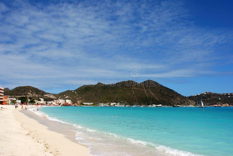 Spiaggia dell'isola di St.Maarten fotografia stock