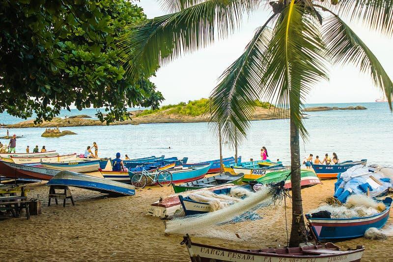 Spiaggia della Costa del da della Praia, Vila Velha, EspÃrito Santo State, Brasile immagine stock
