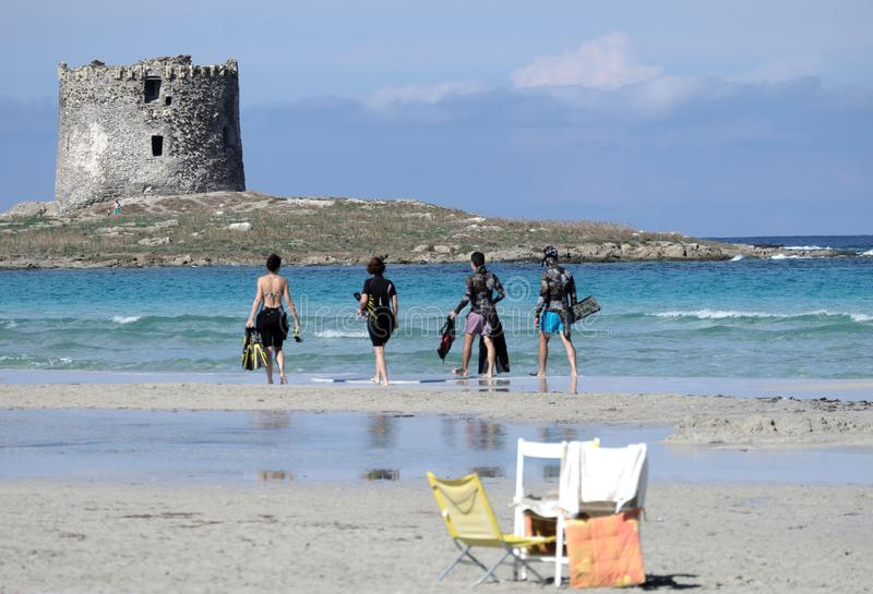 Spiaggia della Pelosetta在撒丁岛 图库摄影