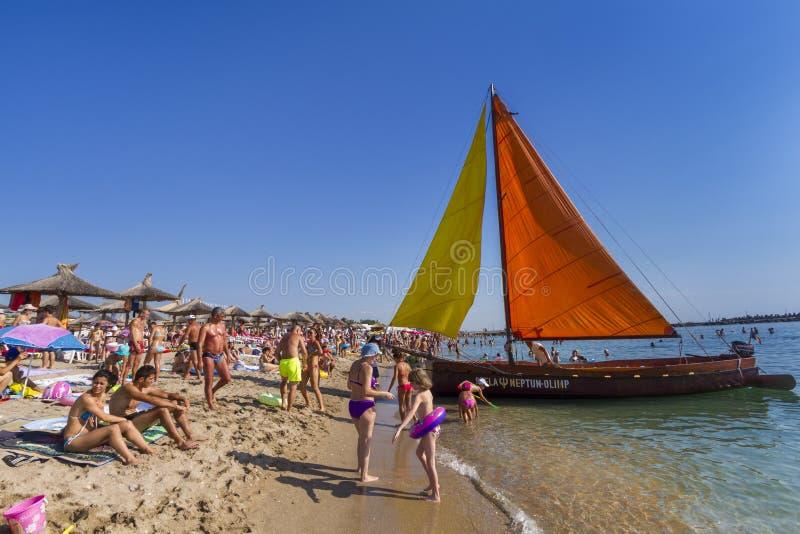 Spiaggia della stazione turistica estiva del mare di Neptun fotografia stock