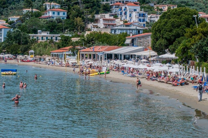 Spiaggia delle munizioni di Megali, Skiathos, Grecia fotografia stock