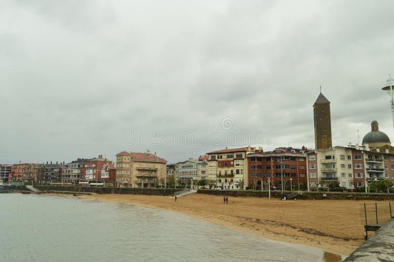 Spiaggia delle sabbie di Getxo Viaggio di Cantabrico della natura fotografia stock libera da diritti