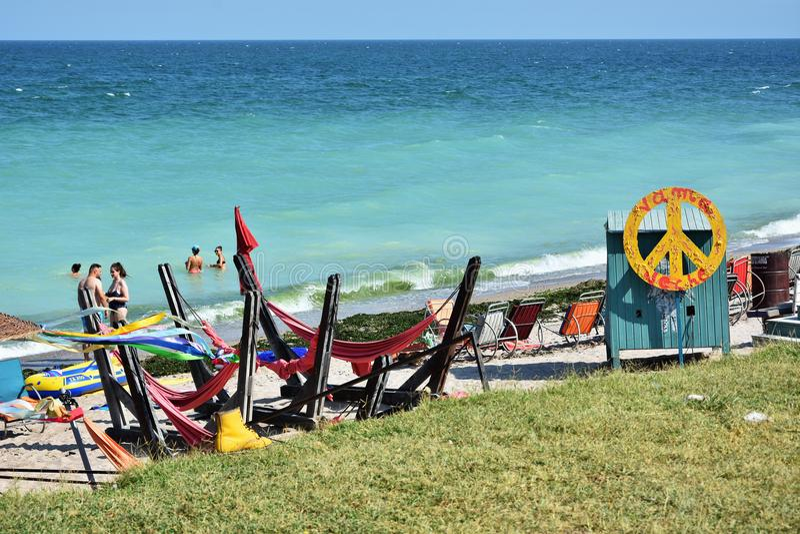 Spiaggia di Acolo a Vama Veche, Romania immagini stock libere da diritti