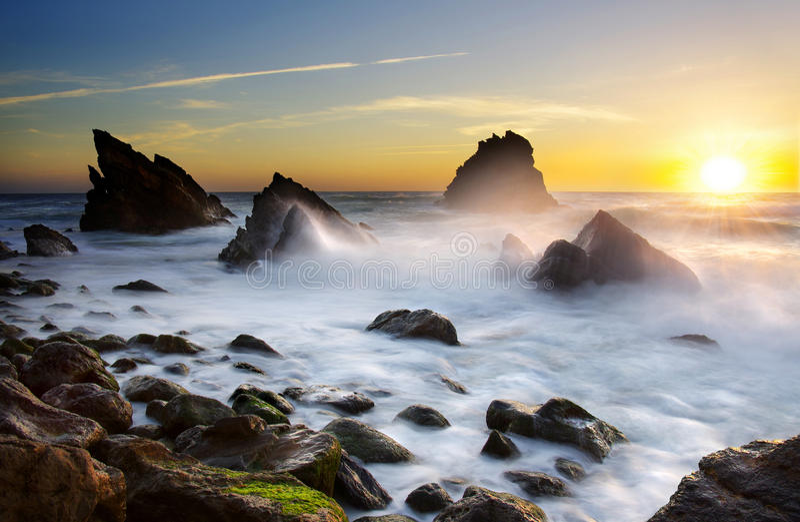 Spiaggia di Adraga immagini stock