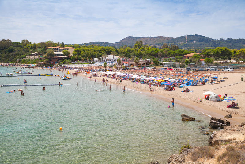 Spiaggia di Agios Nikolaos, isola greca di zante immagine stock libera da diritti
