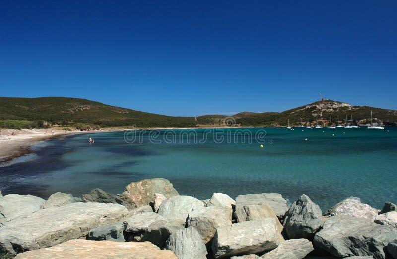 Spiaggia di Barcaggio nel capo della Corsica fotografie stock